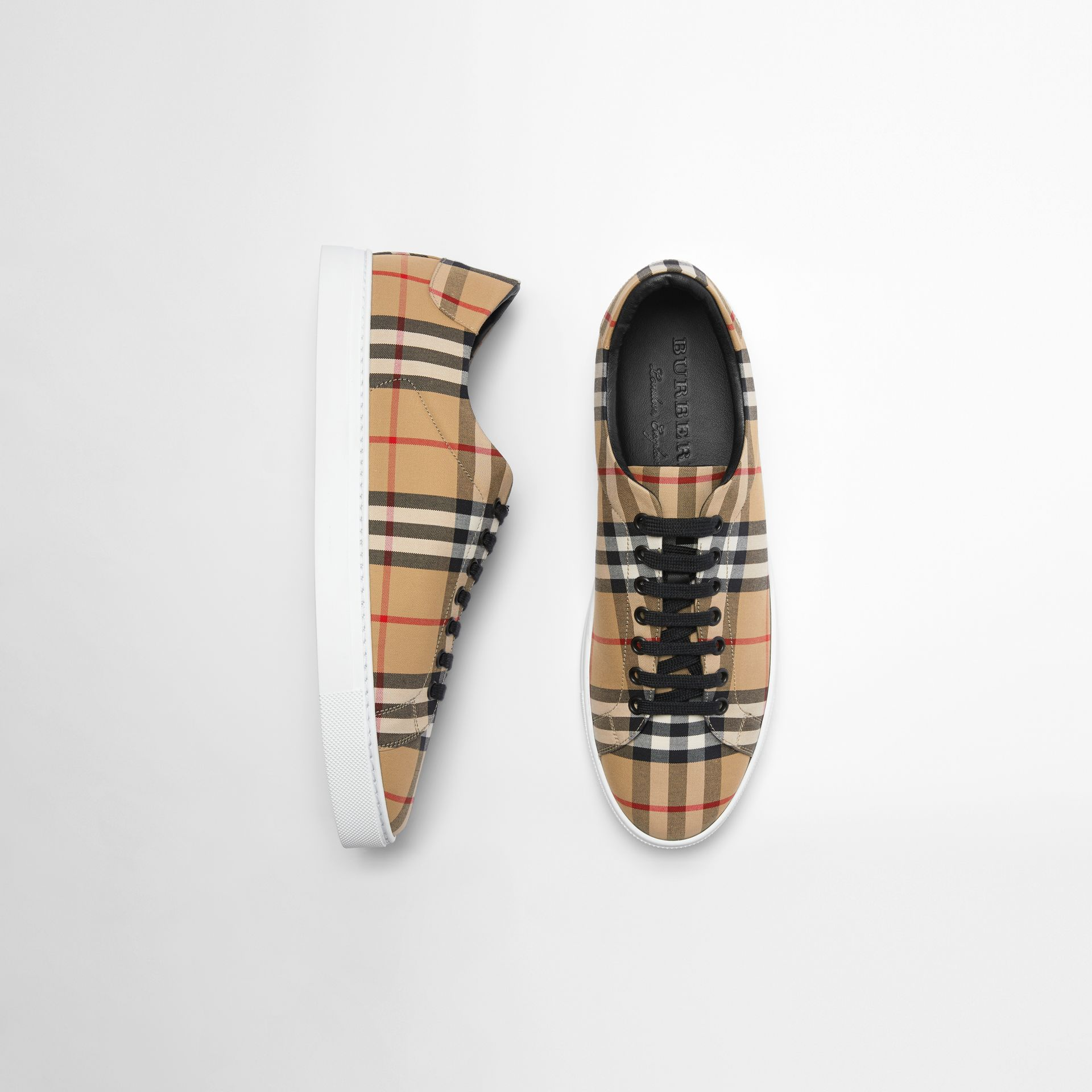 Vintage Check and Leather Sneakers in Antique Yellow - Men | Burberry Australia - gallery image 0