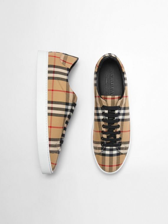 Vintage Check and Leather Sneakers in Antique Yellow