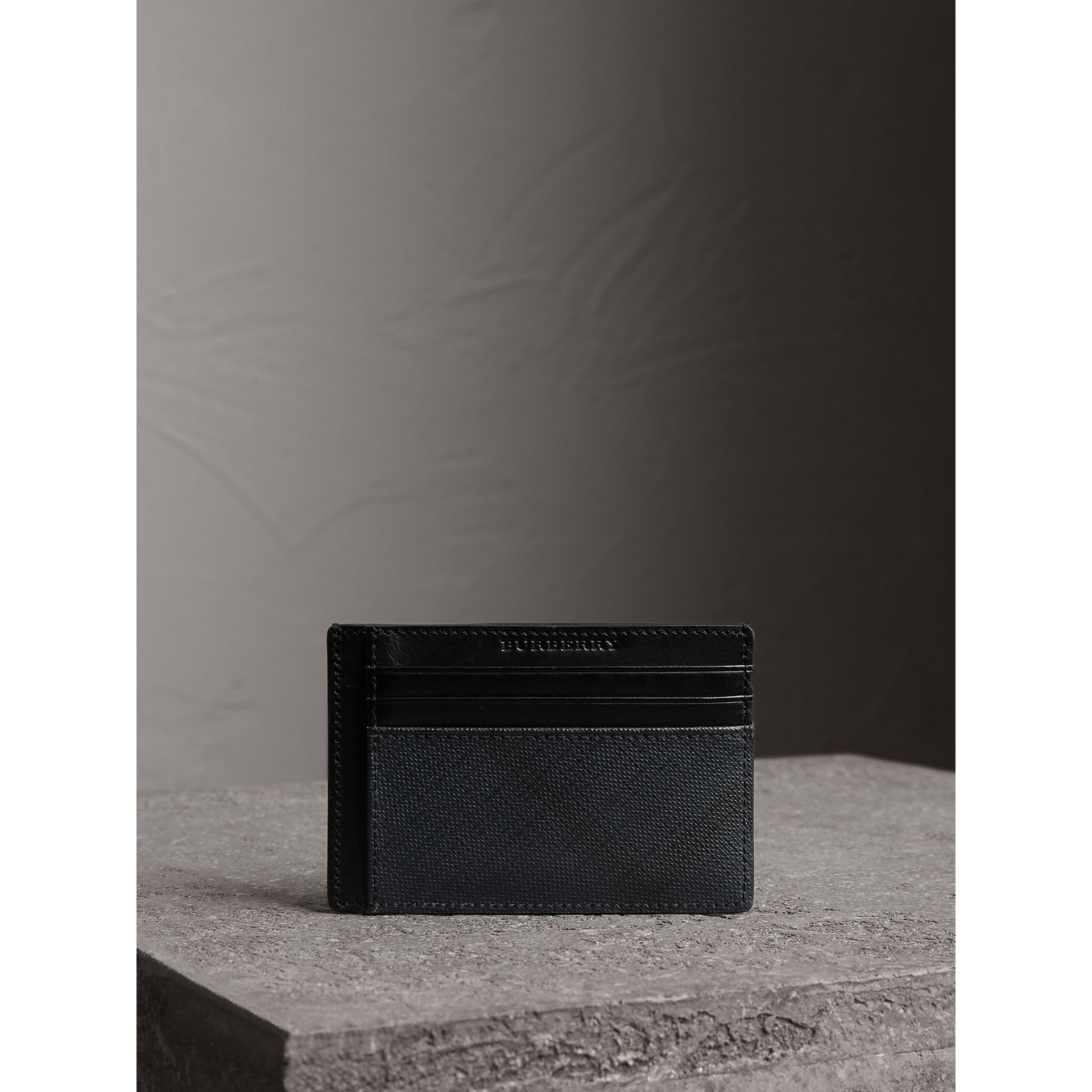 London Check Card Case in Navy/black - Men | Burberry - gallery image 3