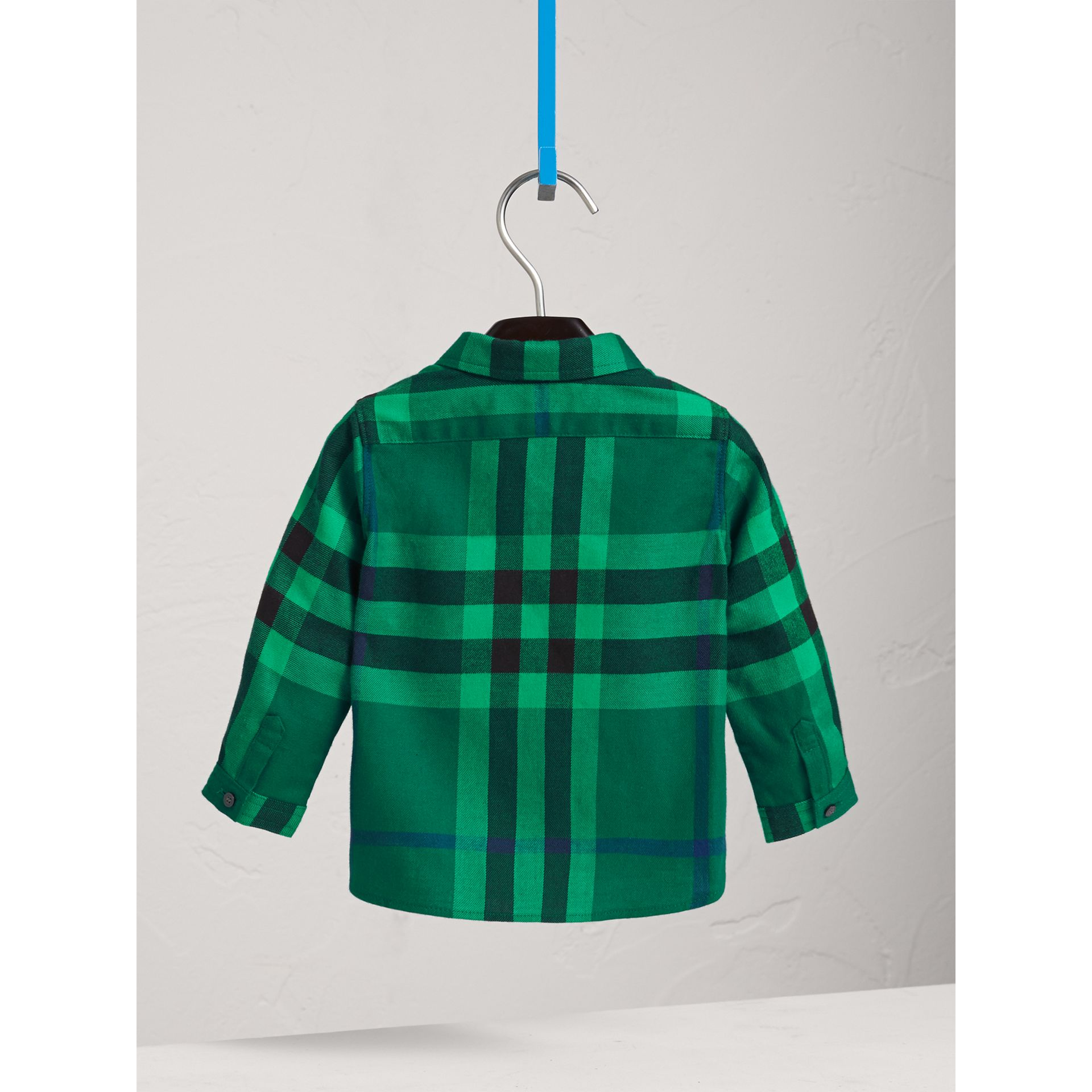Button-down Collar Check Cotton Shirt in Pigment Green | Burberry - gallery image 4