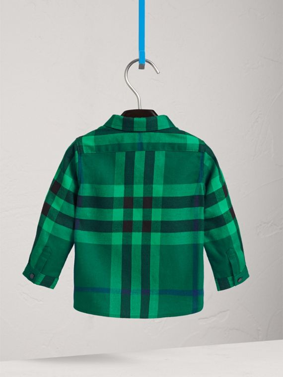 Button-down Collar Check Cotton Shirt in Pigment Green | Burberry - cell image 3