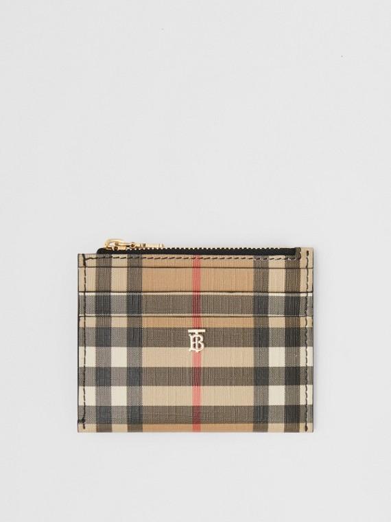 Porte-cartes zippé en cuir et Vintage check (Noir)