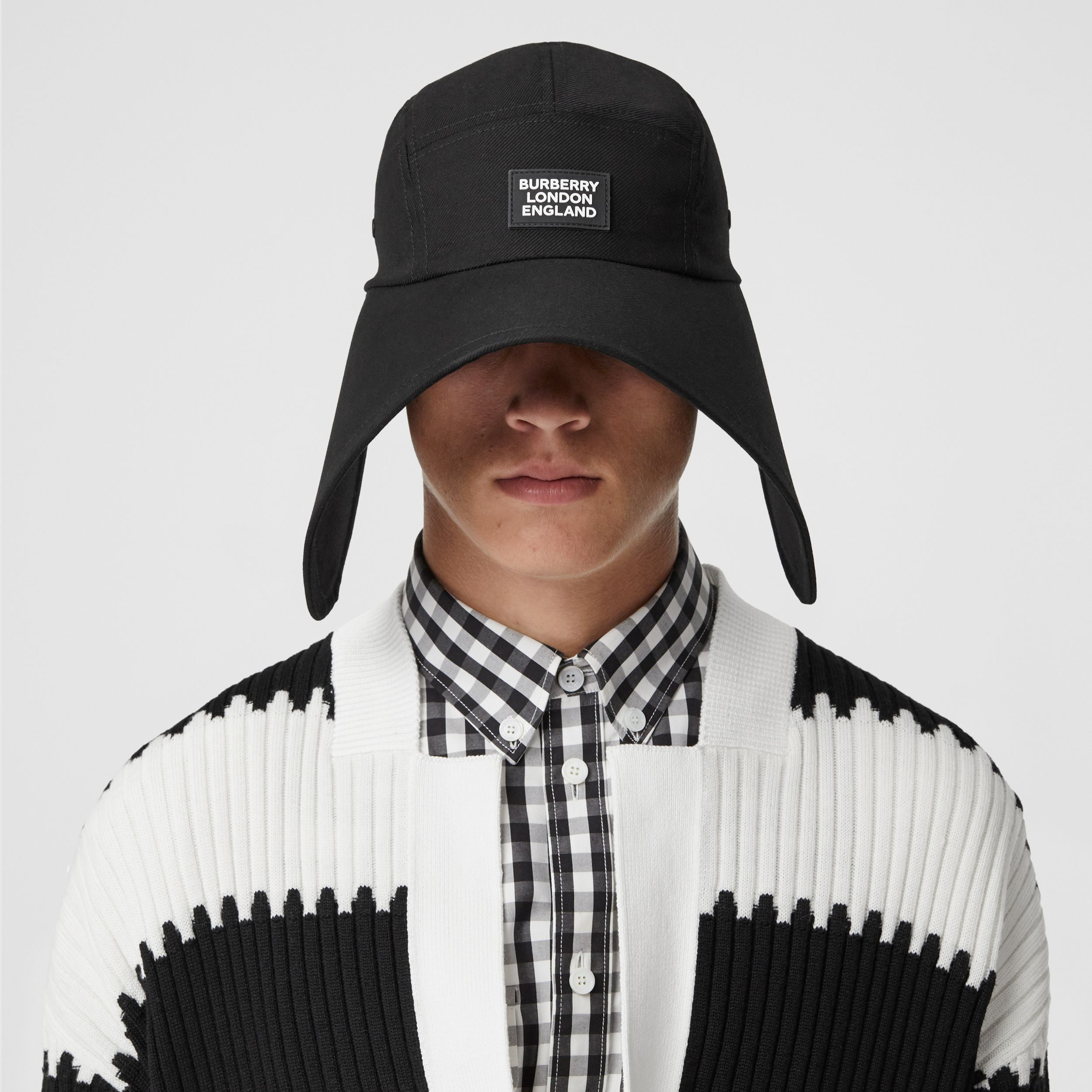Logo Appliqué Cotton Twill Bonnet Cap in Black | Burberry - 4