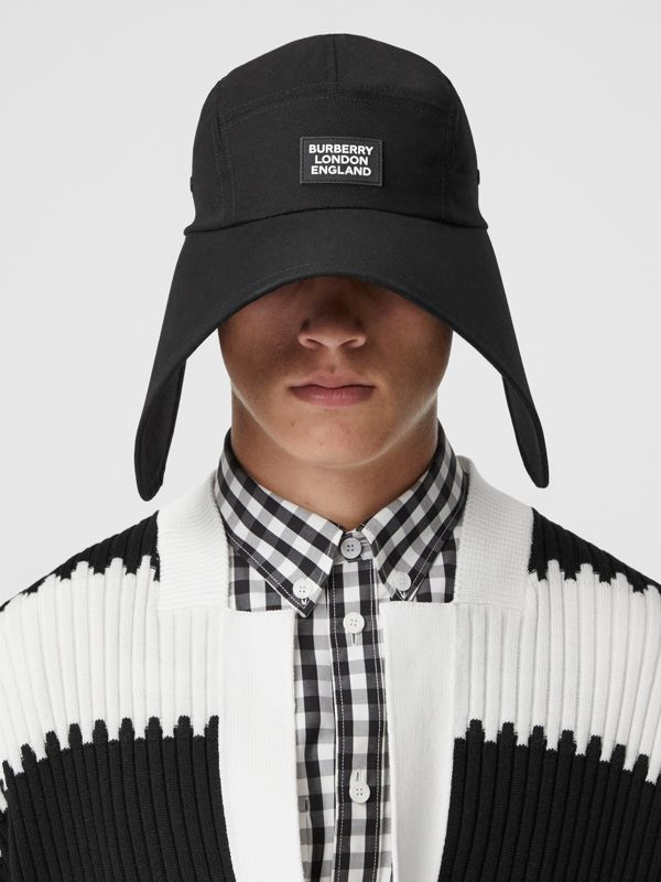 Logo Appliqué Cotton Twill Bonnet Cap in Black | Burberry United Kingdom - cell image 3