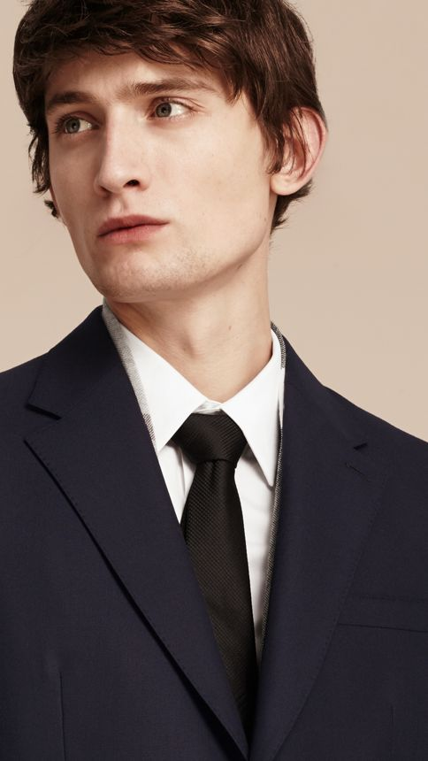 Navy Classic Fit Wool Part-canvas Suit Navy - Image 5