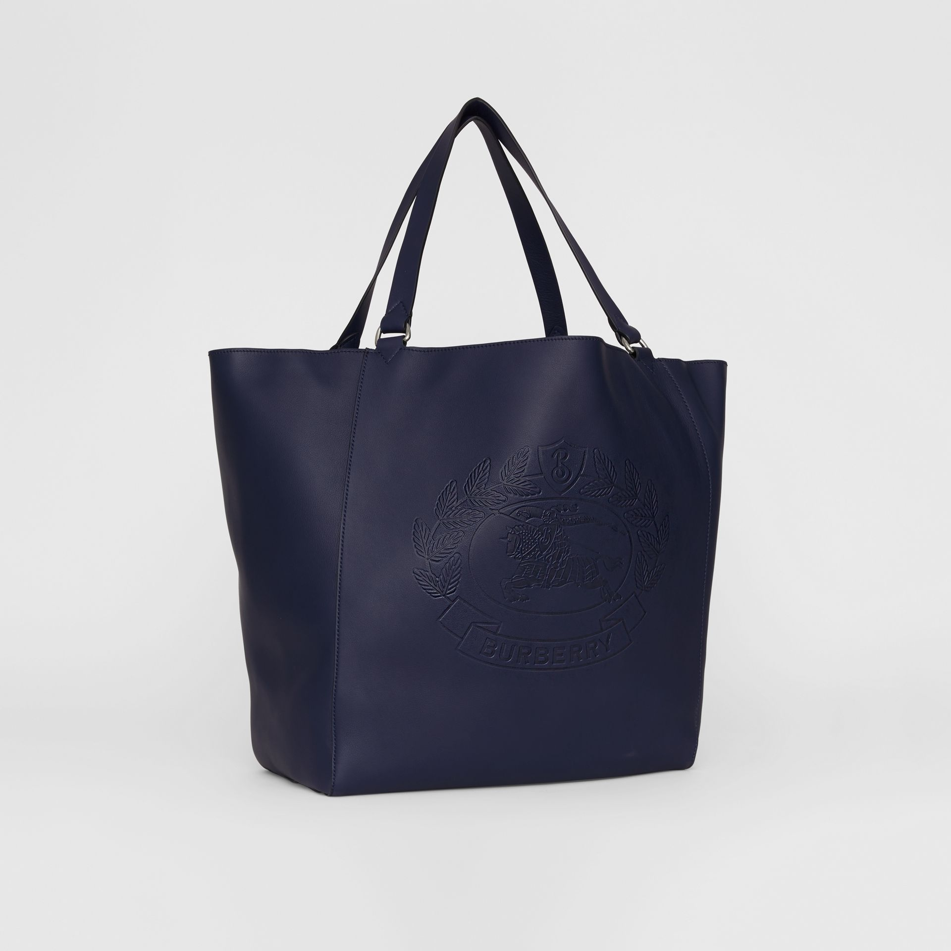 Large Embossed Crest Bonded Leather Tote in Regency Blue - Men | Burberry - gallery image 8