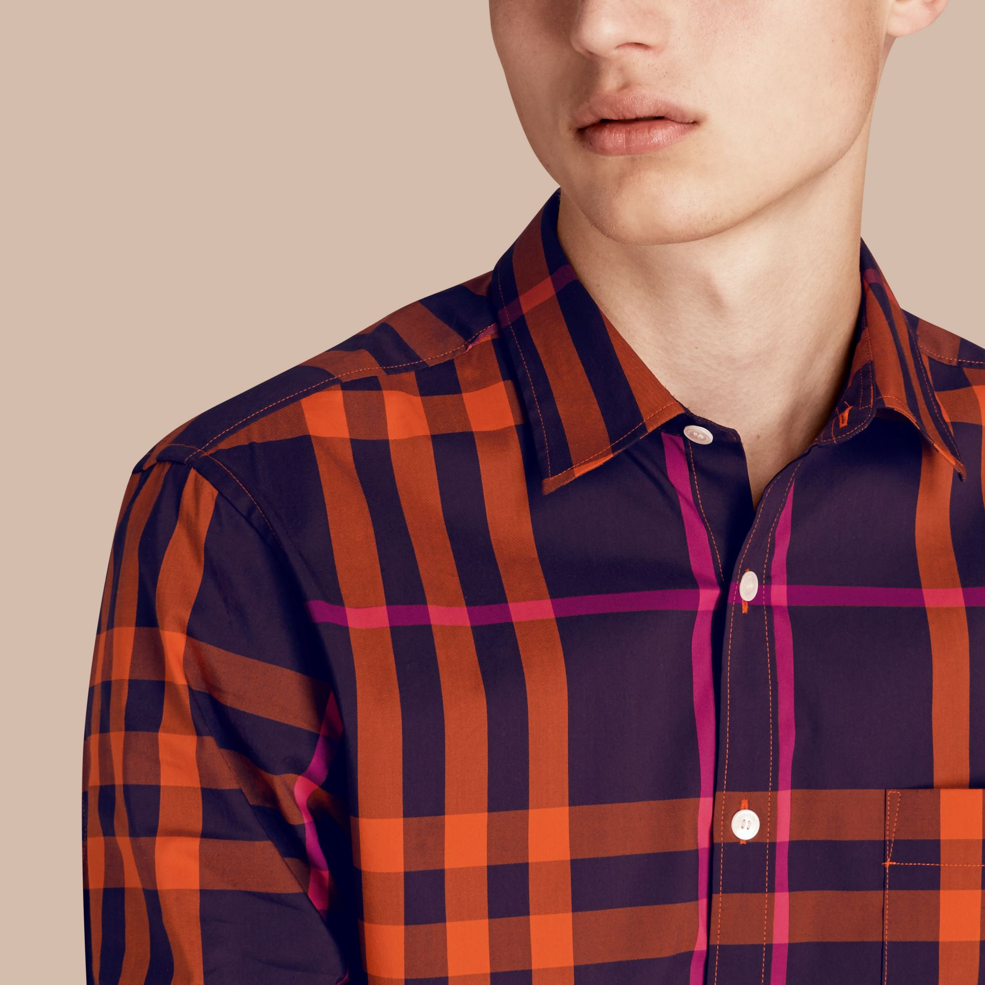 Check Stretch Cotton Shirt Clementine - gallery image 5