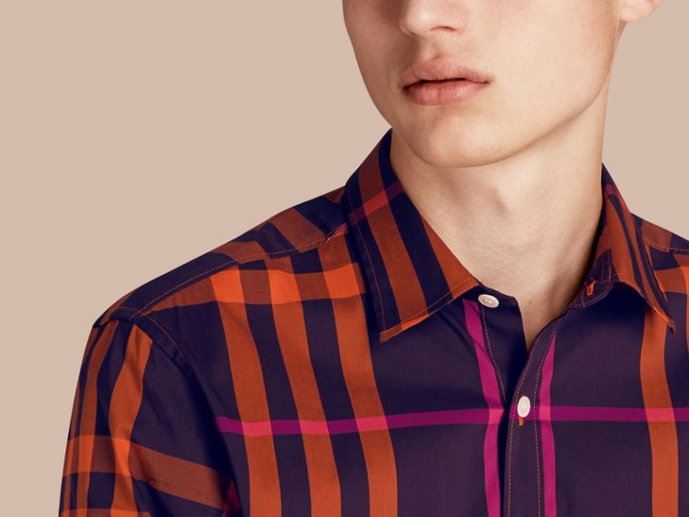 Clementine Check Stretch Cotton Shirt Clementine - cell image 4