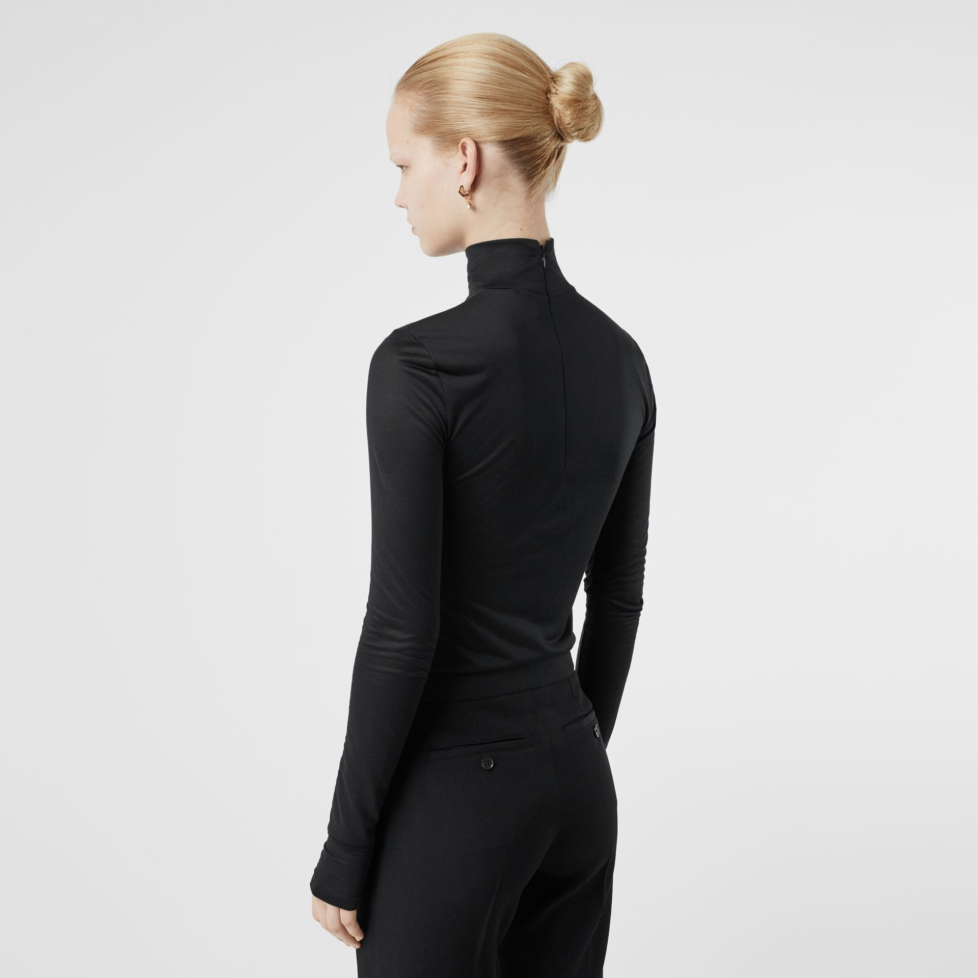 Silk Jersey Turtleneck Top in Black - Women | Burberry - gallery image 2