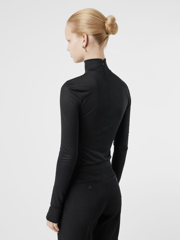 Silk Jersey Turtleneck Top in Black - Women | Burberry Australia - cell image 2