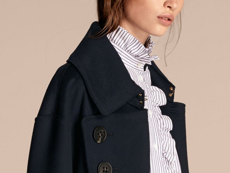 Navy Longline Oversize Wool Coat - cell image 4