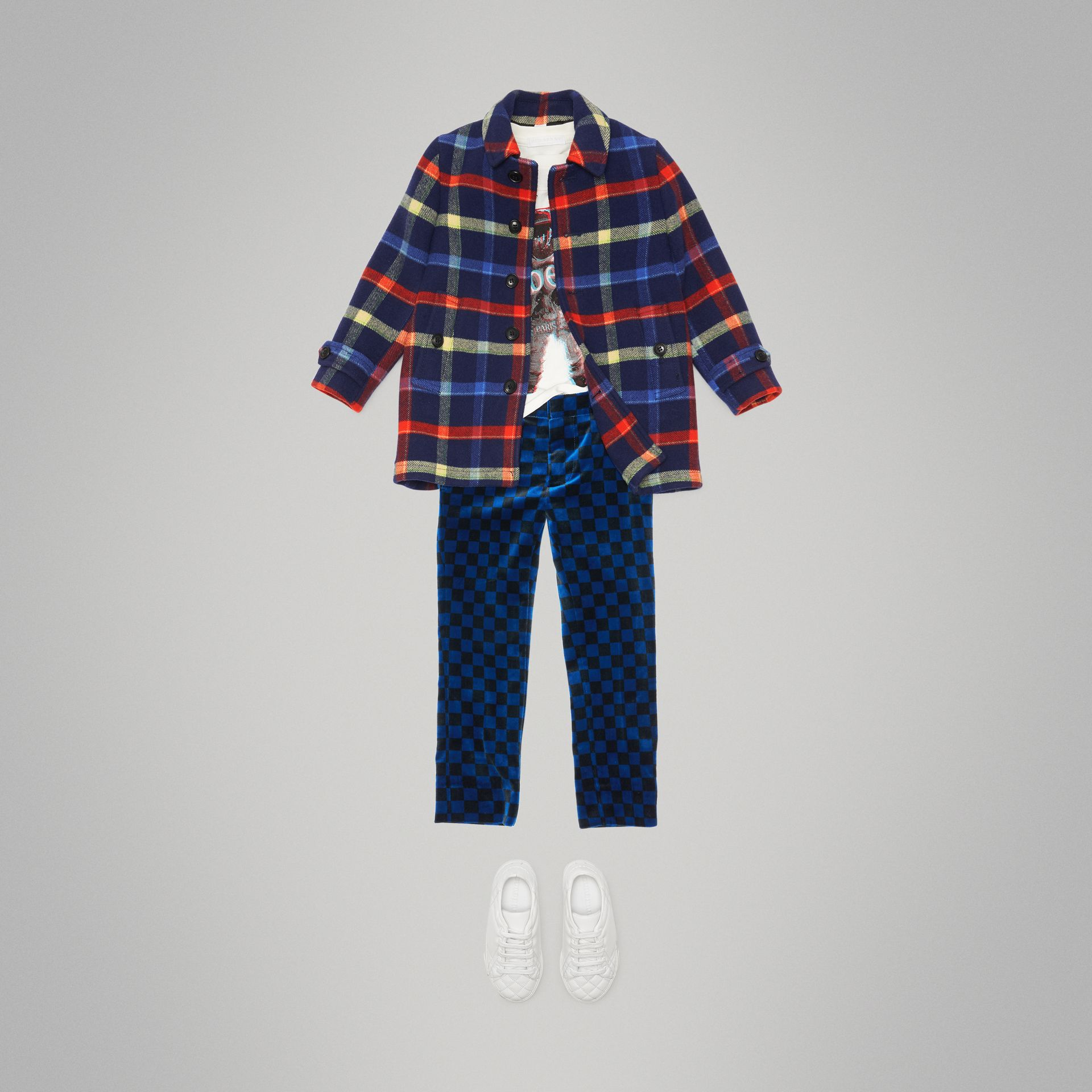 Check Double-faced Wool Coat in Navy - Children | Burberry - gallery image 2