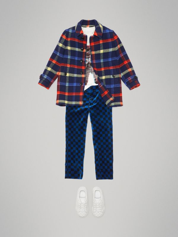 Check Double-faced Wool Coat in Navy - Children | Burberry - cell image 2