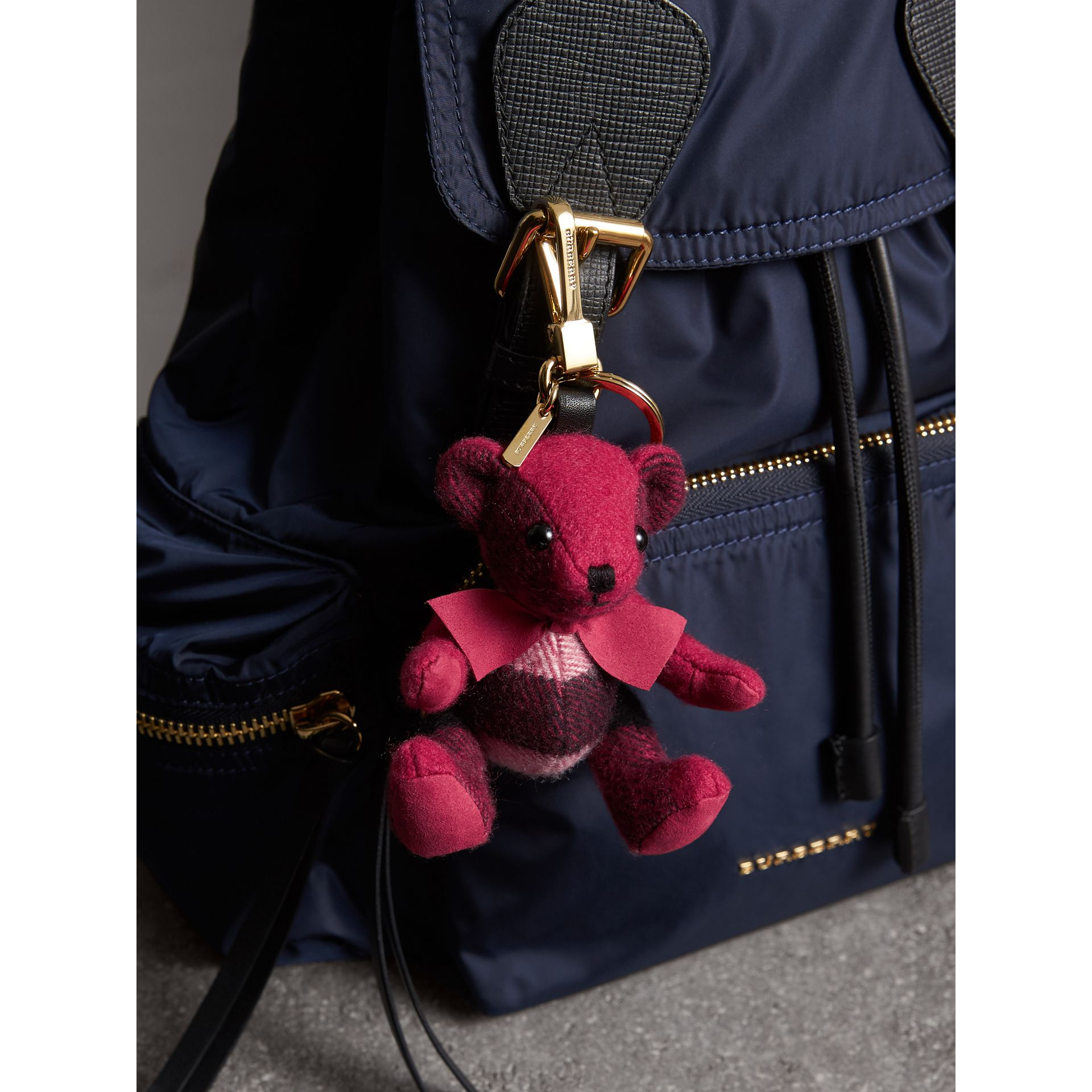 Thomas Bear Charm in Check Cashmere in Fuchsia Pink | Burberry Hong Kong - gallery image 3