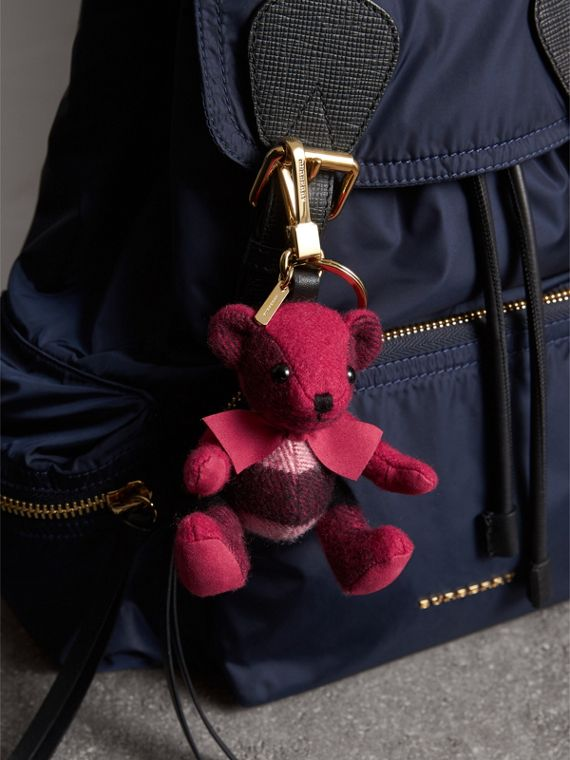 Thomas Bear Charm in Check Cashmere in Fuchsia Pink | Burberry - cell image 2
