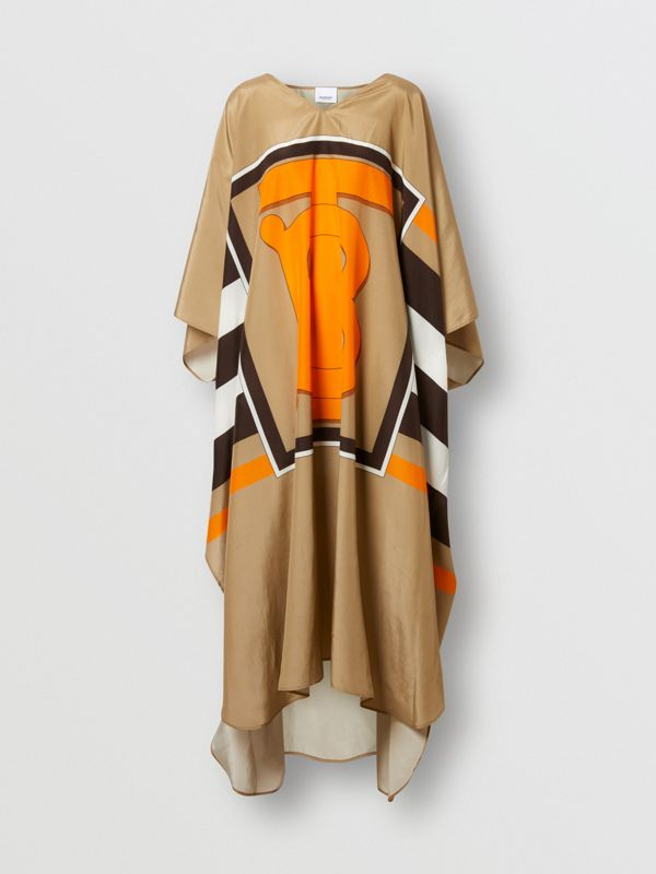 Monogram Motif Print Silk Cotton Kaftan in Archive Beige | Burberry - cell image 2