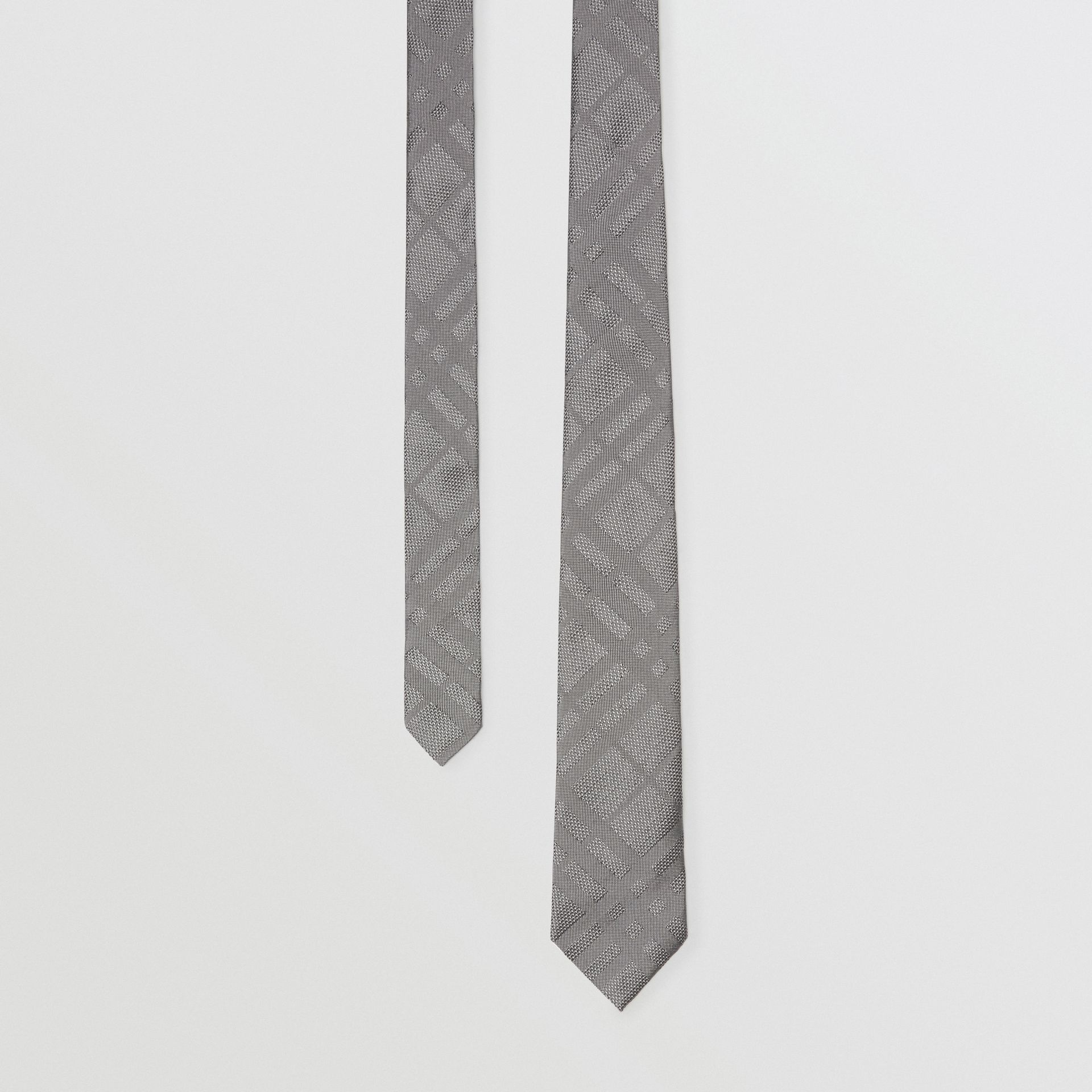 Classic Cut Check Silk Jacquard Tie in Charcoal - Men | Burberry Australia - gallery image 0