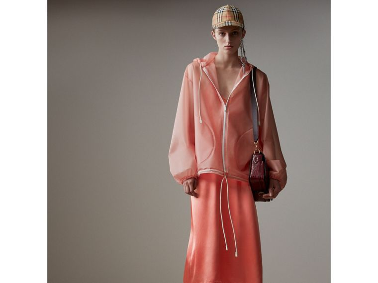 Chantilly Lace Trim Silk Slip Dress in Coral Red - Women | Burberry - cell image 4