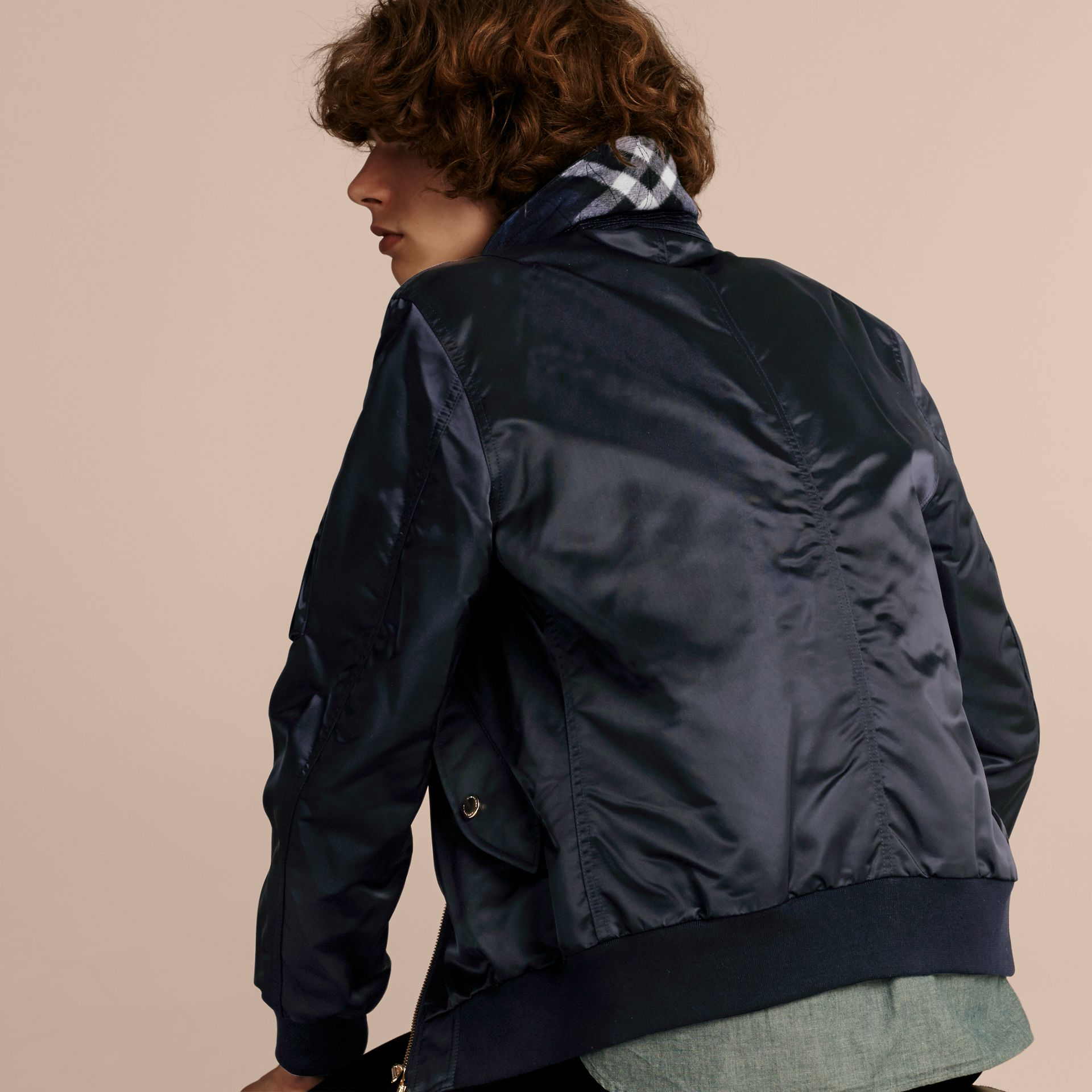 Navy Satin Bomber Jacket with Check Undercollar Navy - gallery image 3