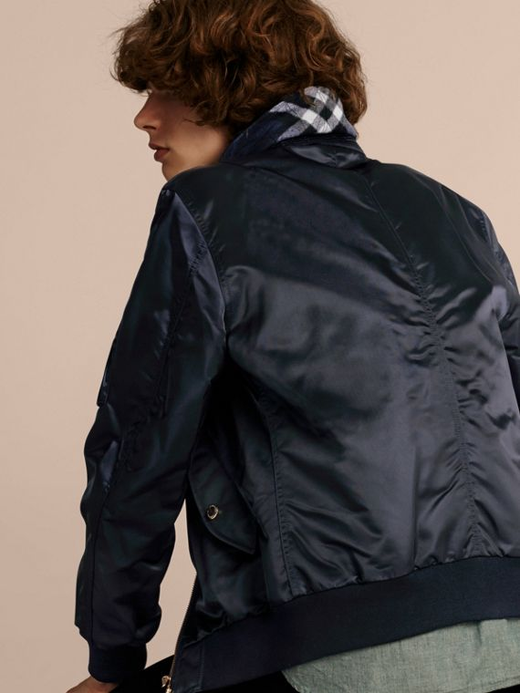 Satin Bomber Jacket with Check Undercollar in Navy - cell image 2