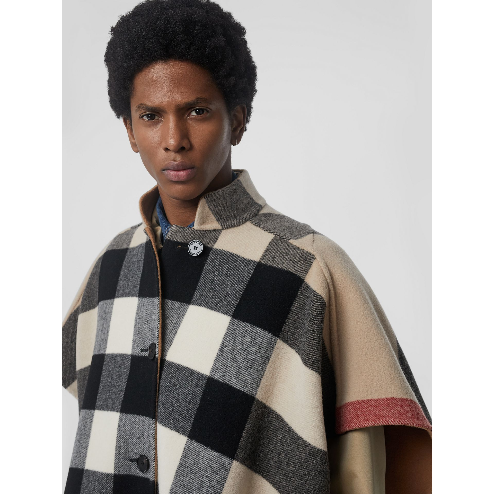 Reversible Check Wool Blend Poncho in Camel | Burberry Australia - gallery image 4