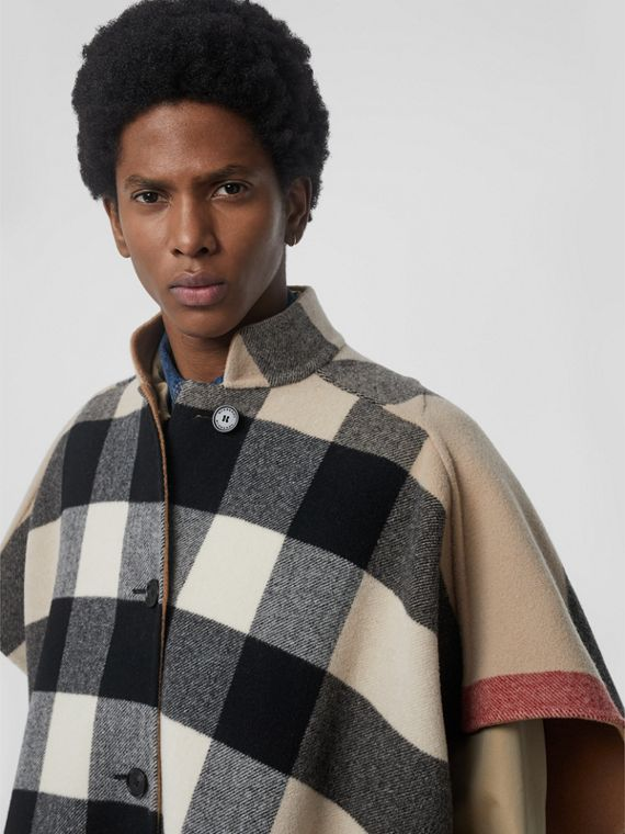 Reversible Check Wool Blend Poncho in Camel