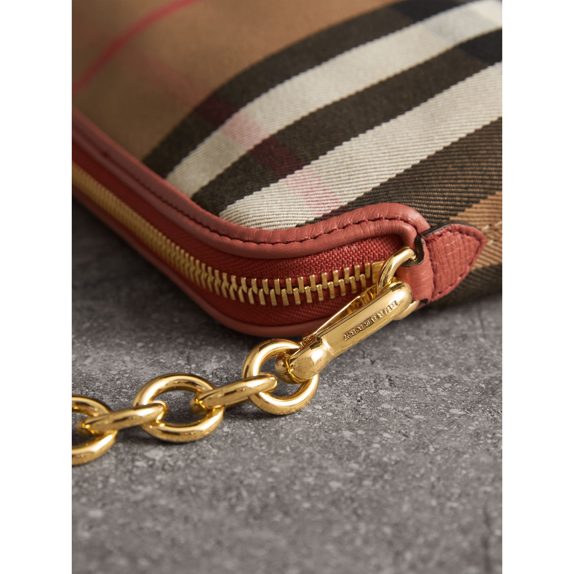 House Check and Leather Clutch Bag in Cinnamon Red - Women | Burberry Singapore - gallery image 2