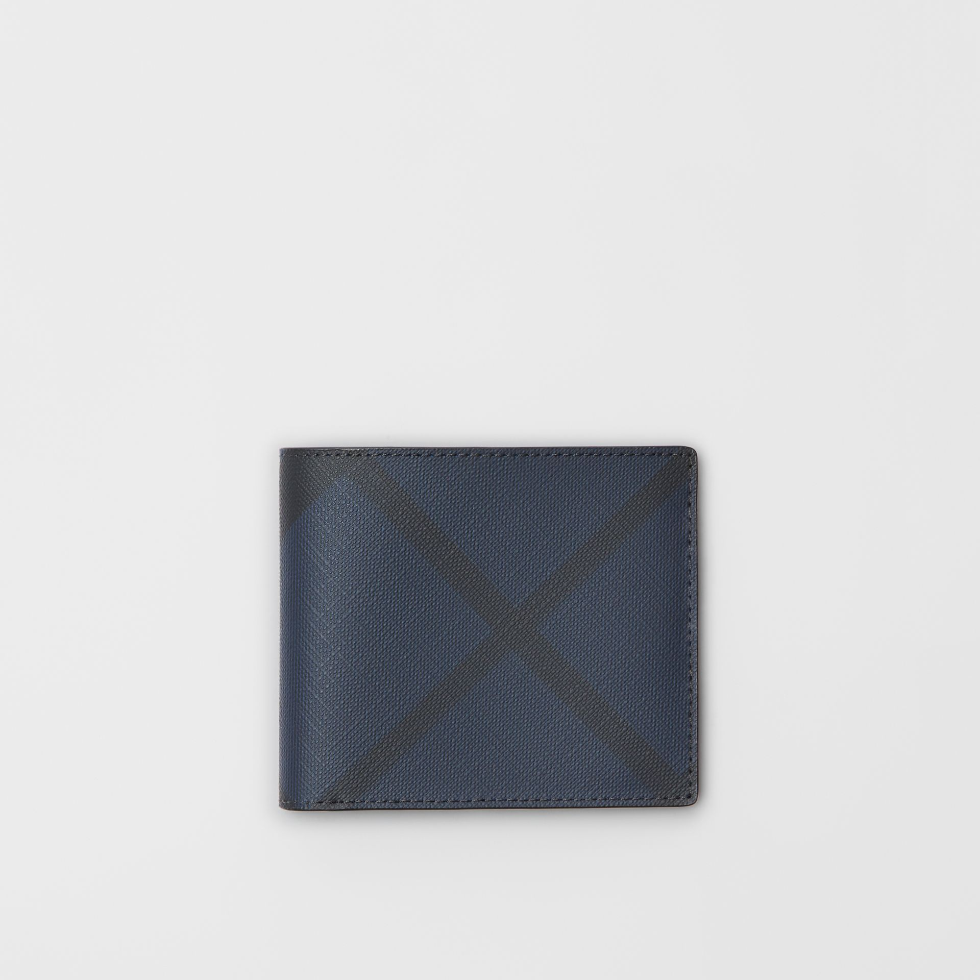 London Check and Leather International Bifold Wallet in Navy/black - Men | Burberry Singapore - gallery image 0