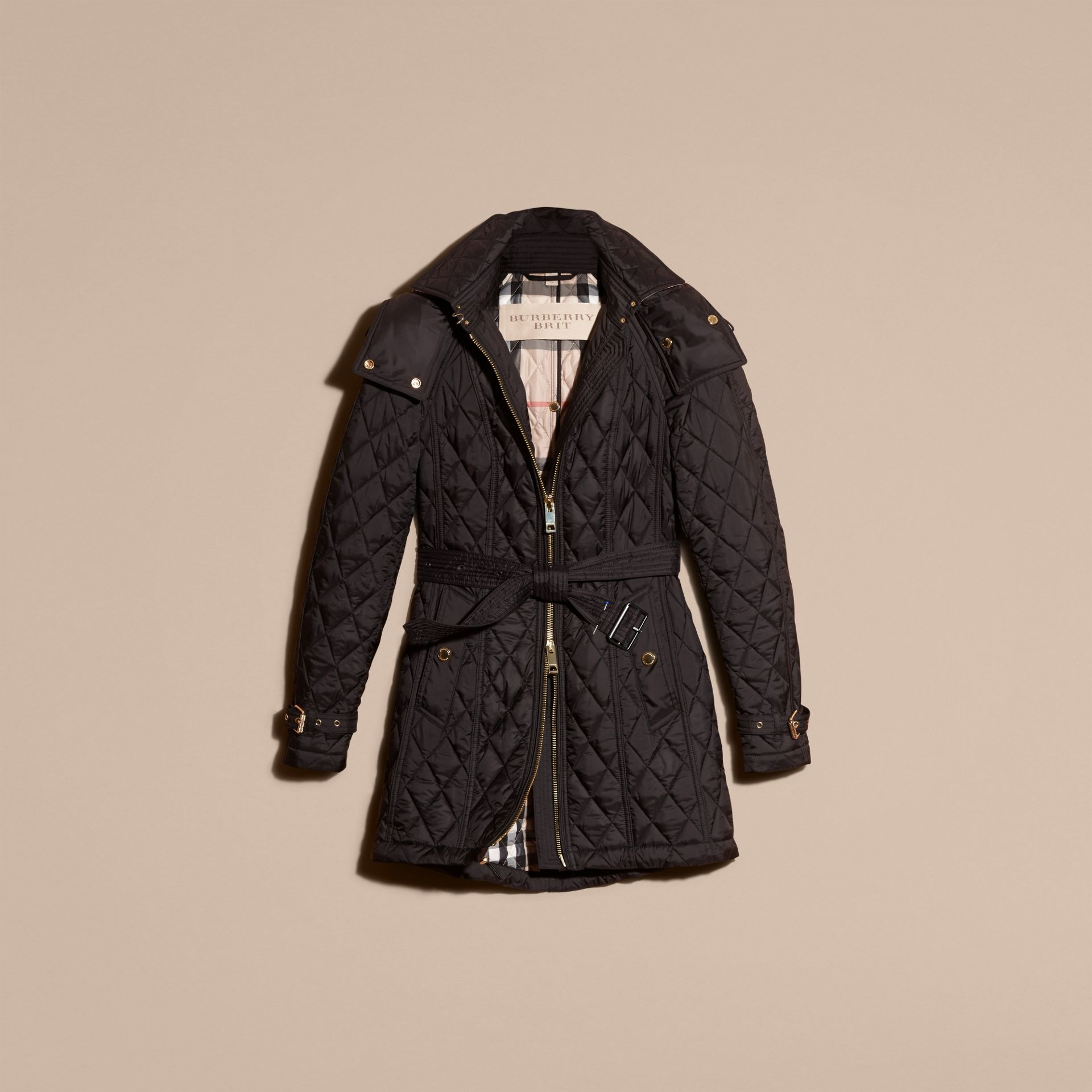 Diamond Quilted Showerproof Parka - gallery image 4