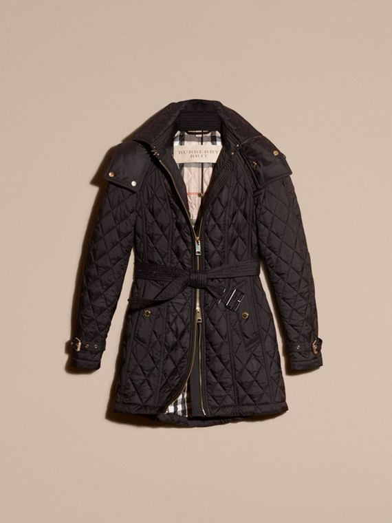 Diamond Quilted Showerproof Parka - cell image 3