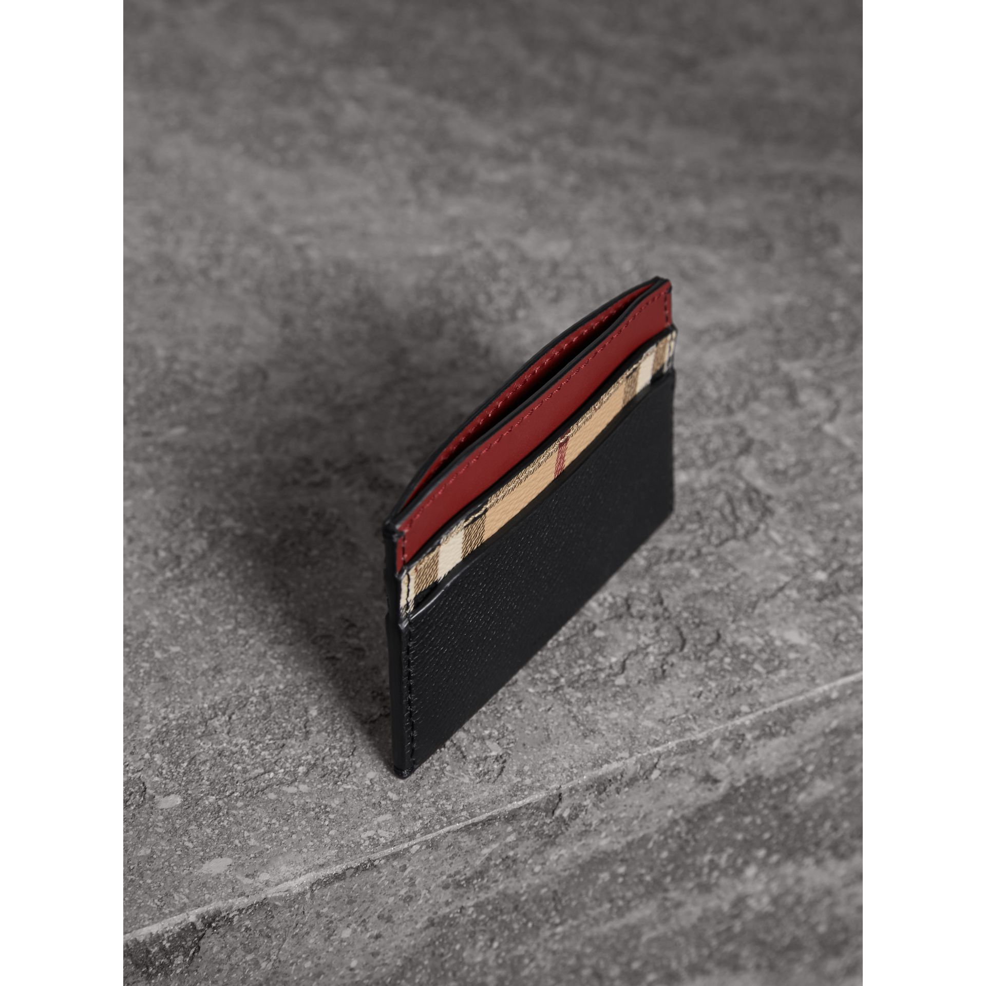 Colour Block Leather and Haymarket Check Card Case in Black/multicolour - Women | Burberry - gallery image 5