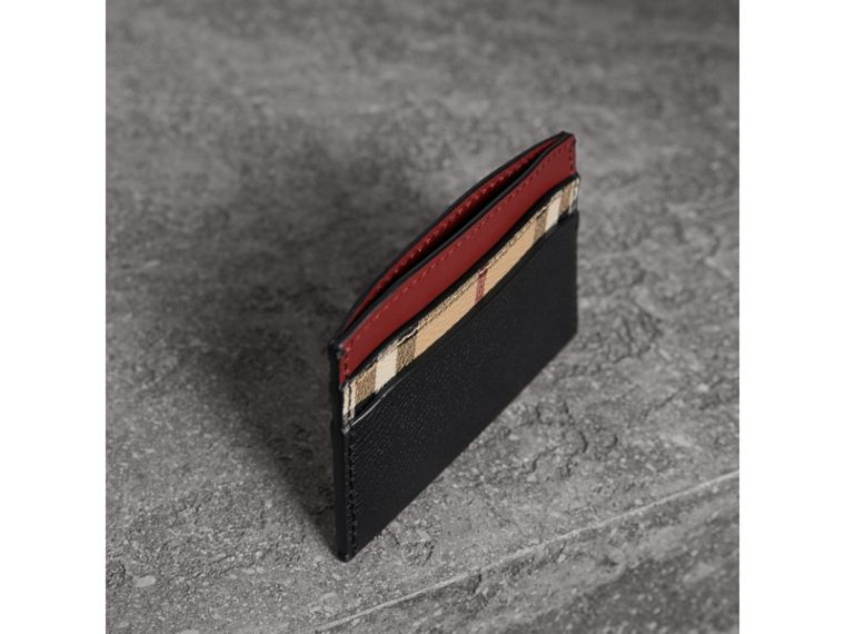 Colour Block Leather and Haymarket Check Card Case in Black/multicolour - Women | Burberry - cell image 4