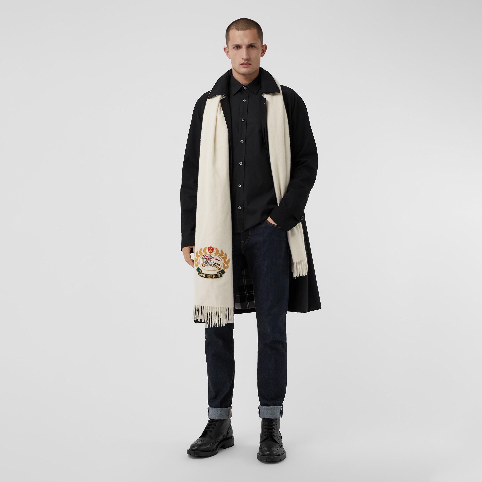Chemise en popeline de coton extensible avec poignets à motif check (Noir) - Homme | Burberry Canada - photo de la galerie 5