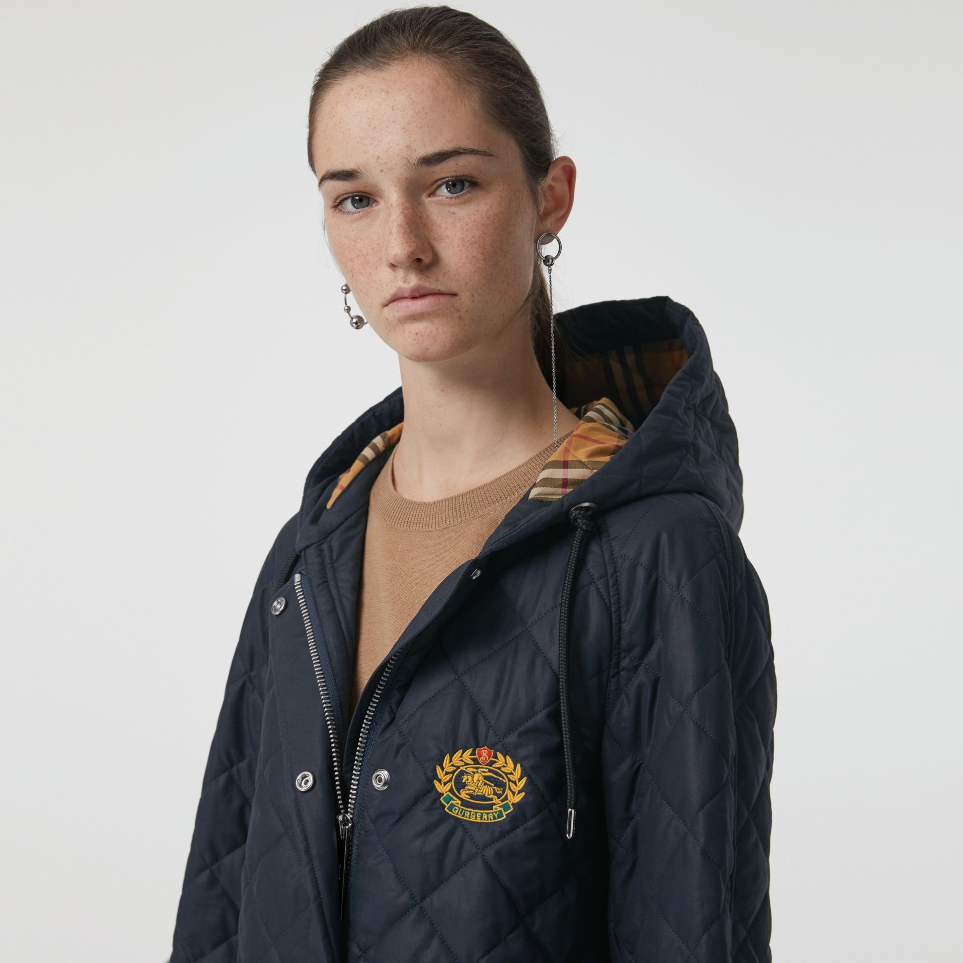Lightweight Diamond Quilted Hooded Parka in Navy - Women | Burberry - gallery image 1