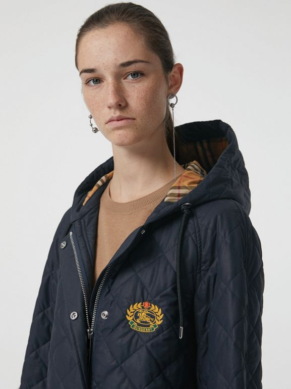 Diamond Quilted Oversized Hooded Parka in Navy - Women | Burberry - cell image 1