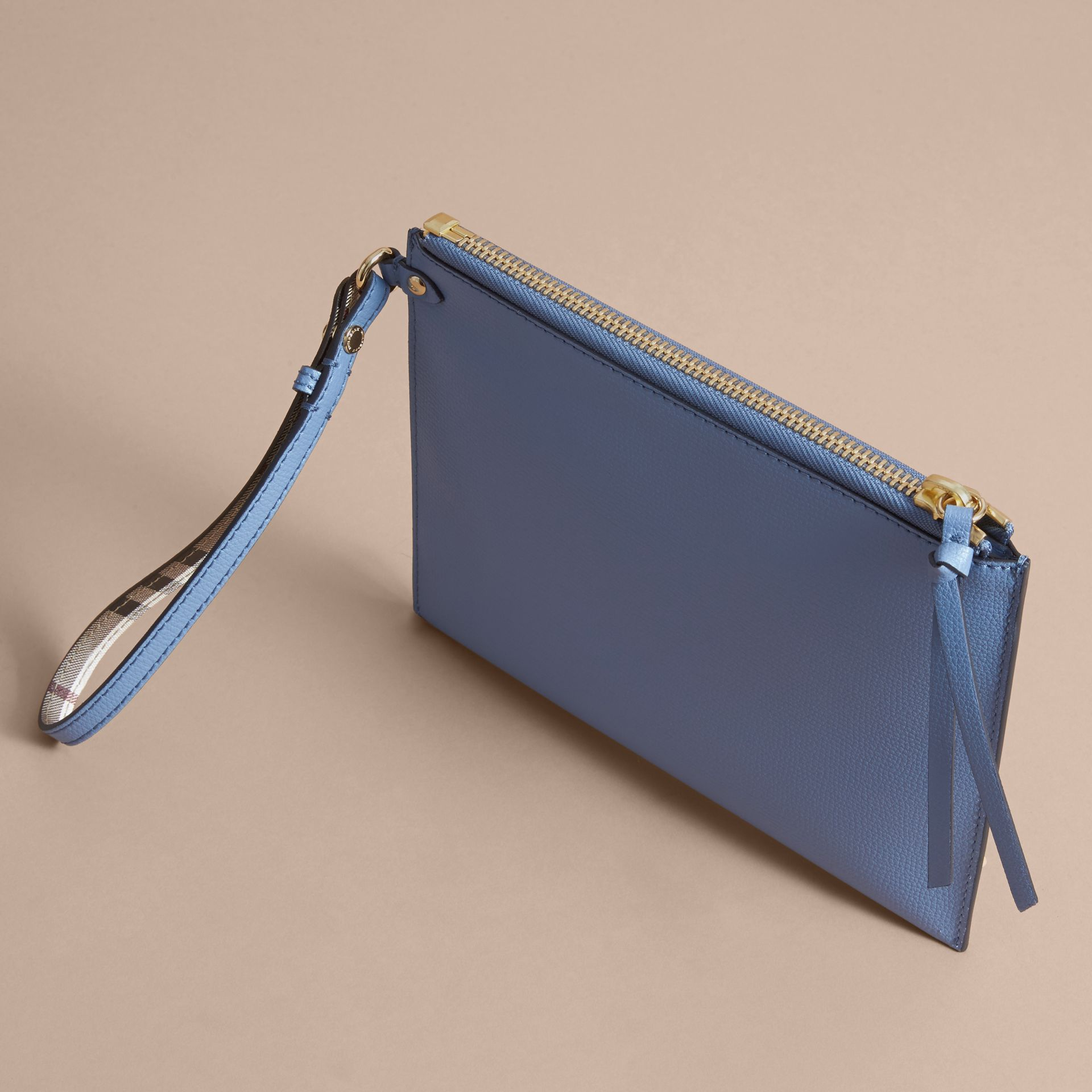 Haymarket Check and Leather Pouch in Slate Blue - gallery image 4