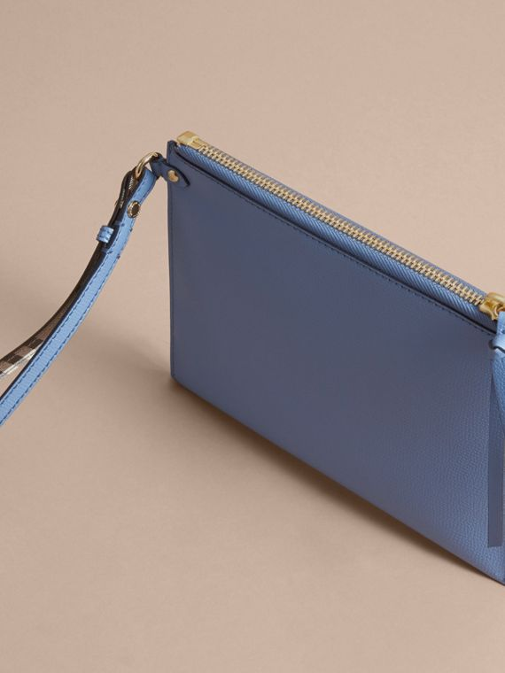 Haymarket Check and Leather Pouch in Slate Blue - Women | Burberry Australia - cell image 3