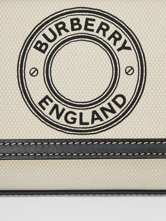 Mini Logo Graphic Canvas and Leather Pocket Bag in Black - Women | Burberry United States - cell image 1
