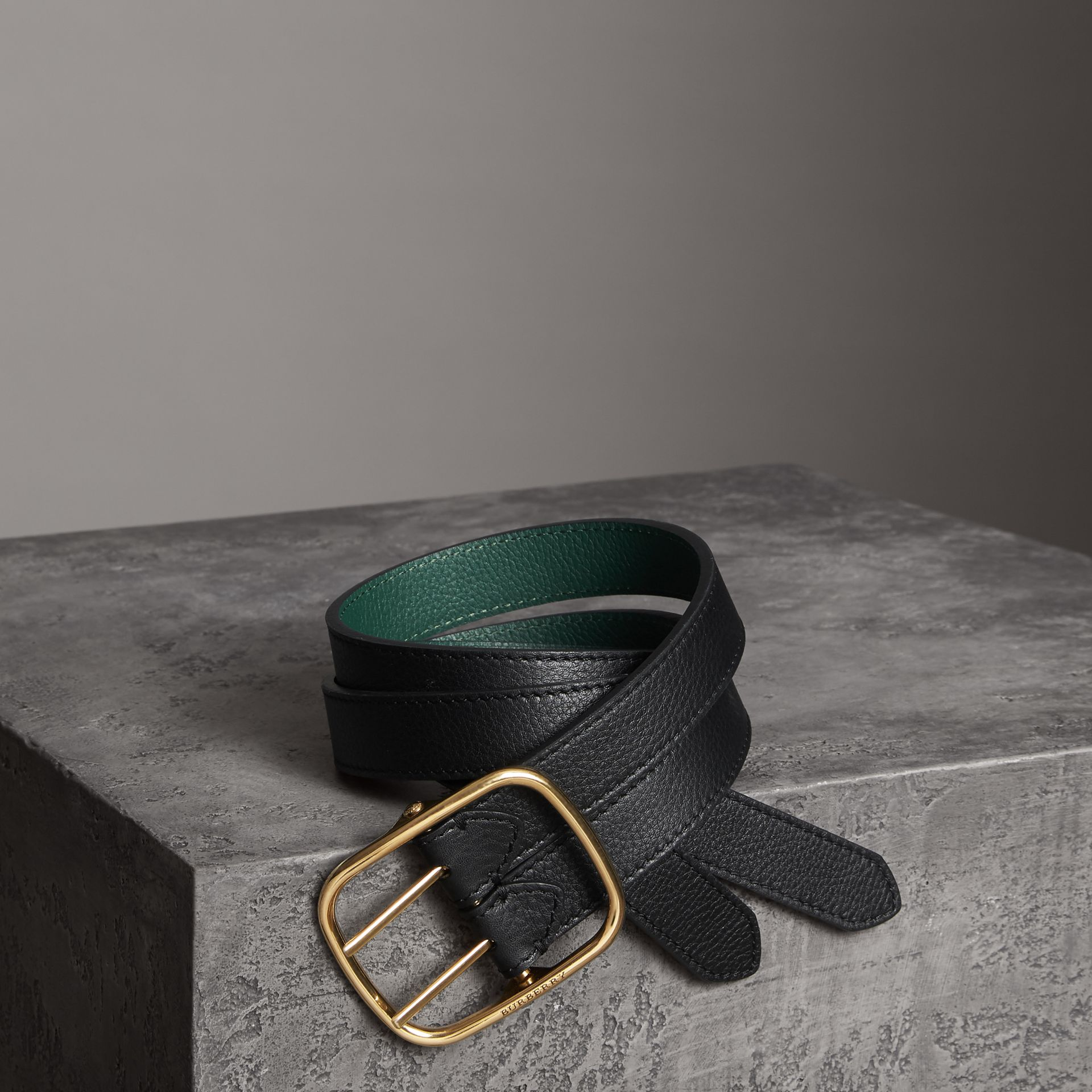 Double-strap Leather Belt in Black/sea Green - Women | Burberry - gallery image 0