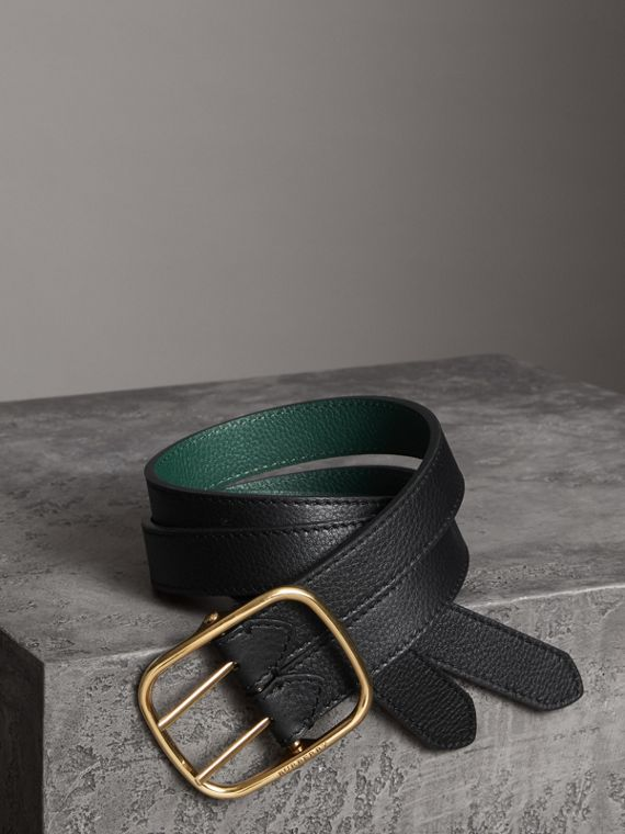 Double-strap Leather Belt in Black/sea Green