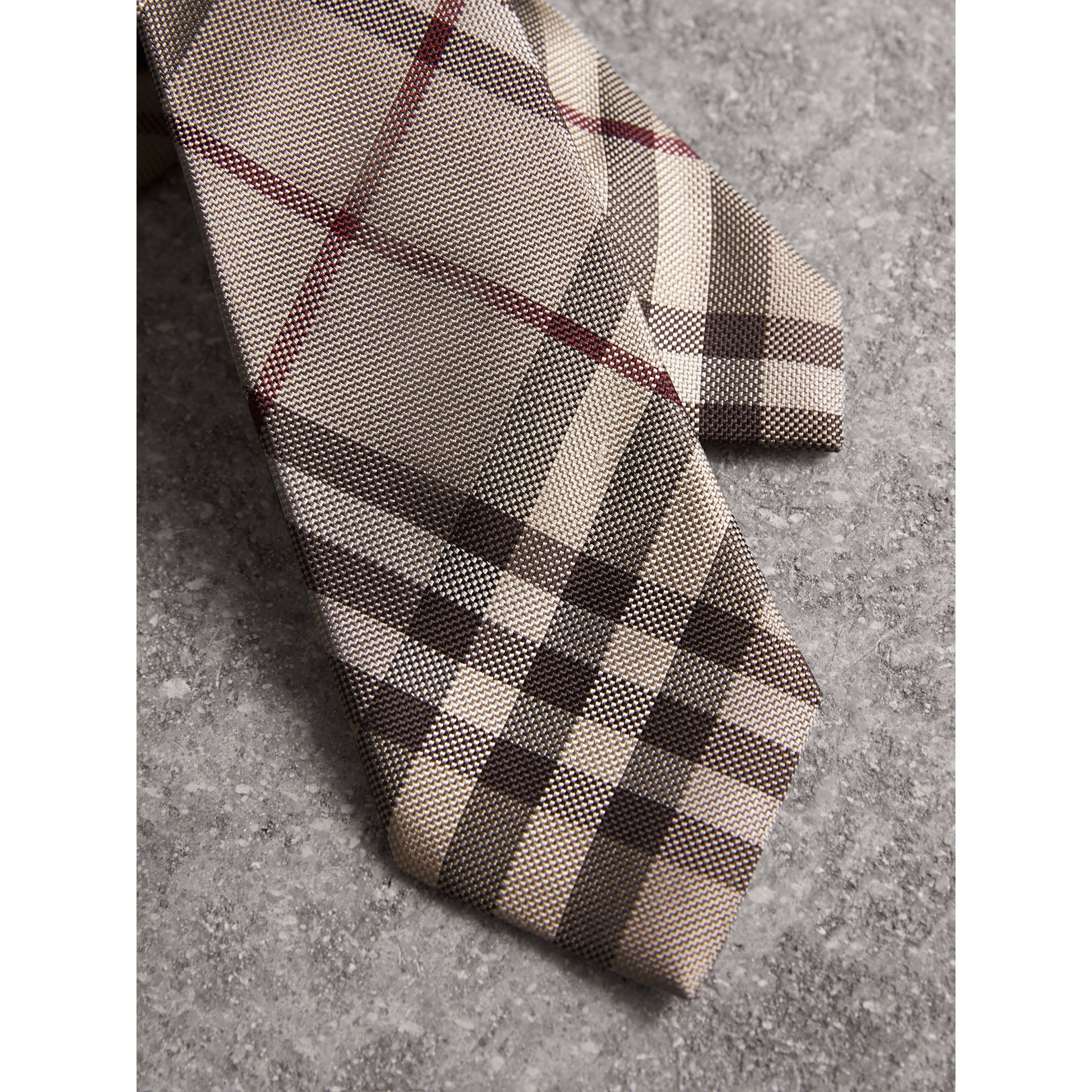 Modern Cut Check Silk Tie in Smoked Trench - Men | Burberry United Kingdom - gallery image 1