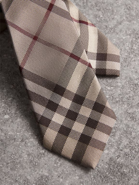 Modern Cut Check Silk Tie in Smoked Trench - Men | Burberry - cell image 1