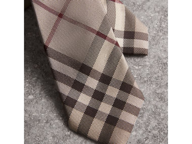 Modern Cut Check Silk Tie in Smoked Trench - Men | Burberry United States - cell image 1
