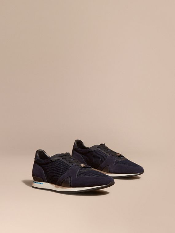 The Field Sneaker in Suede and Mesh Navy