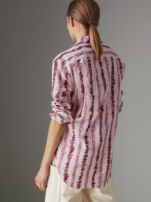 Scribble Stripe Cotton Shirt in Light Pink - Women | Burberry - cell image 2