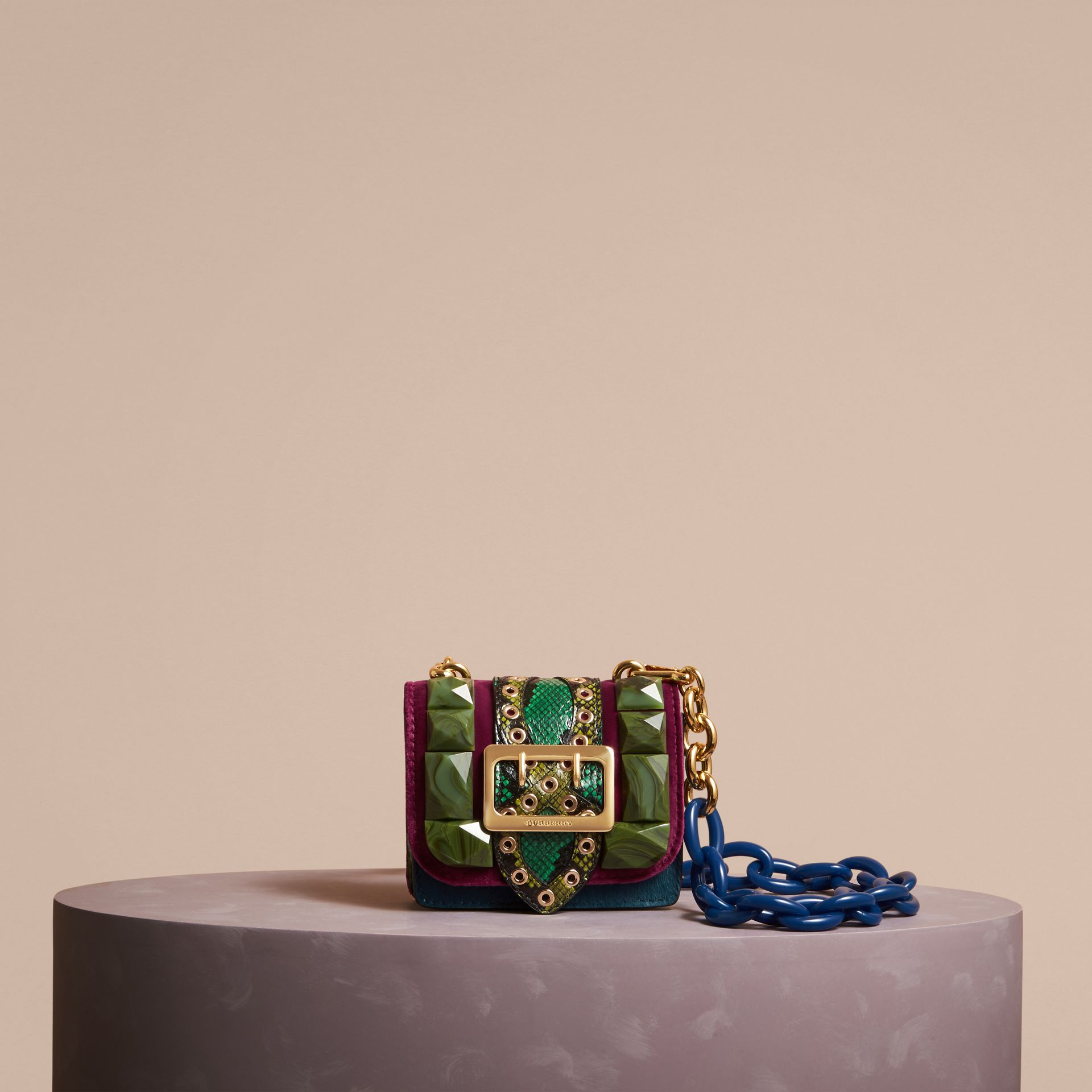The Mini Square Buckle Bag in Calfskin, Snakeskin and Velvet in Damson - Women | Burberry - gallery image 7