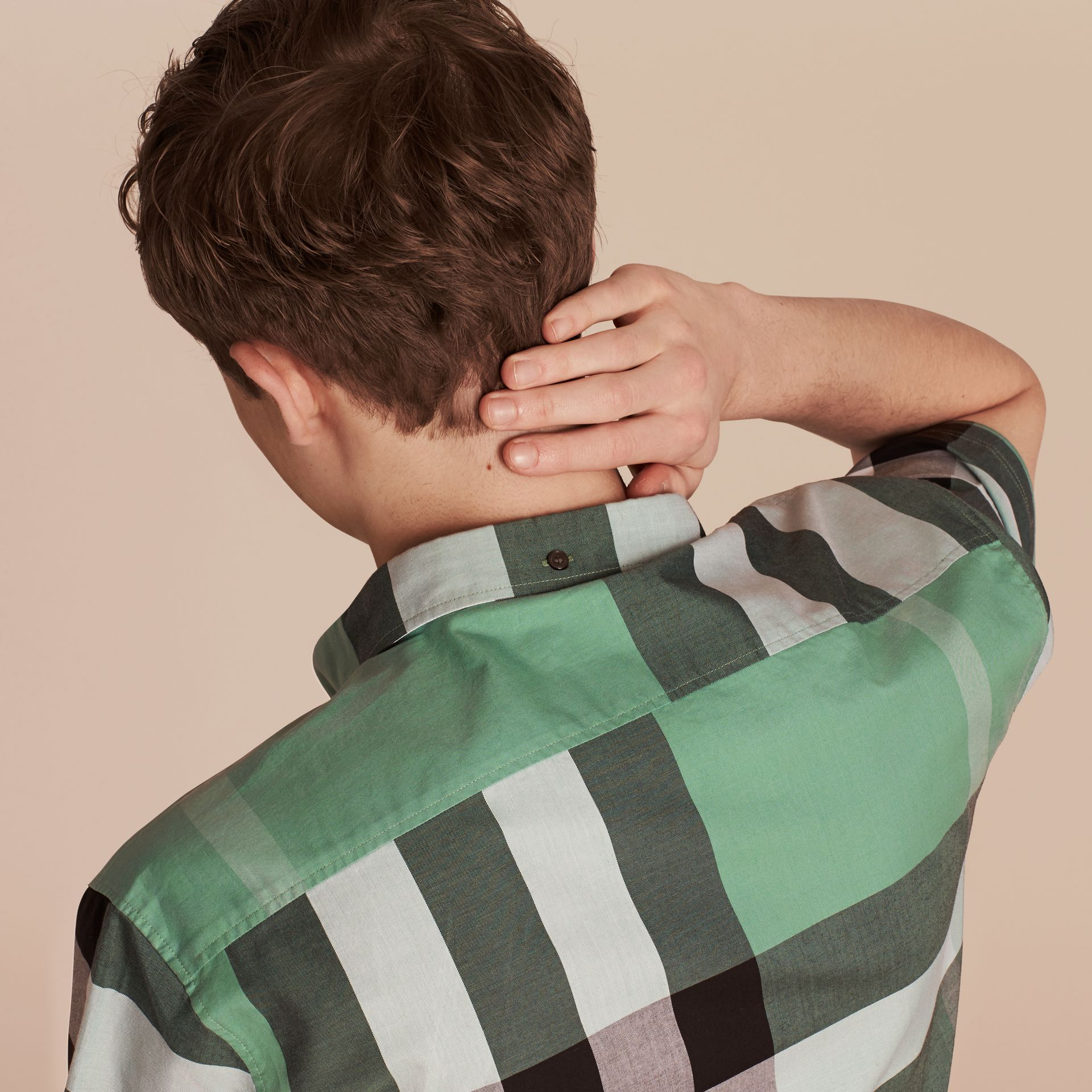 Aqua green Short-sleeved Check Cotton Shirt Aqua Green - gallery image 5