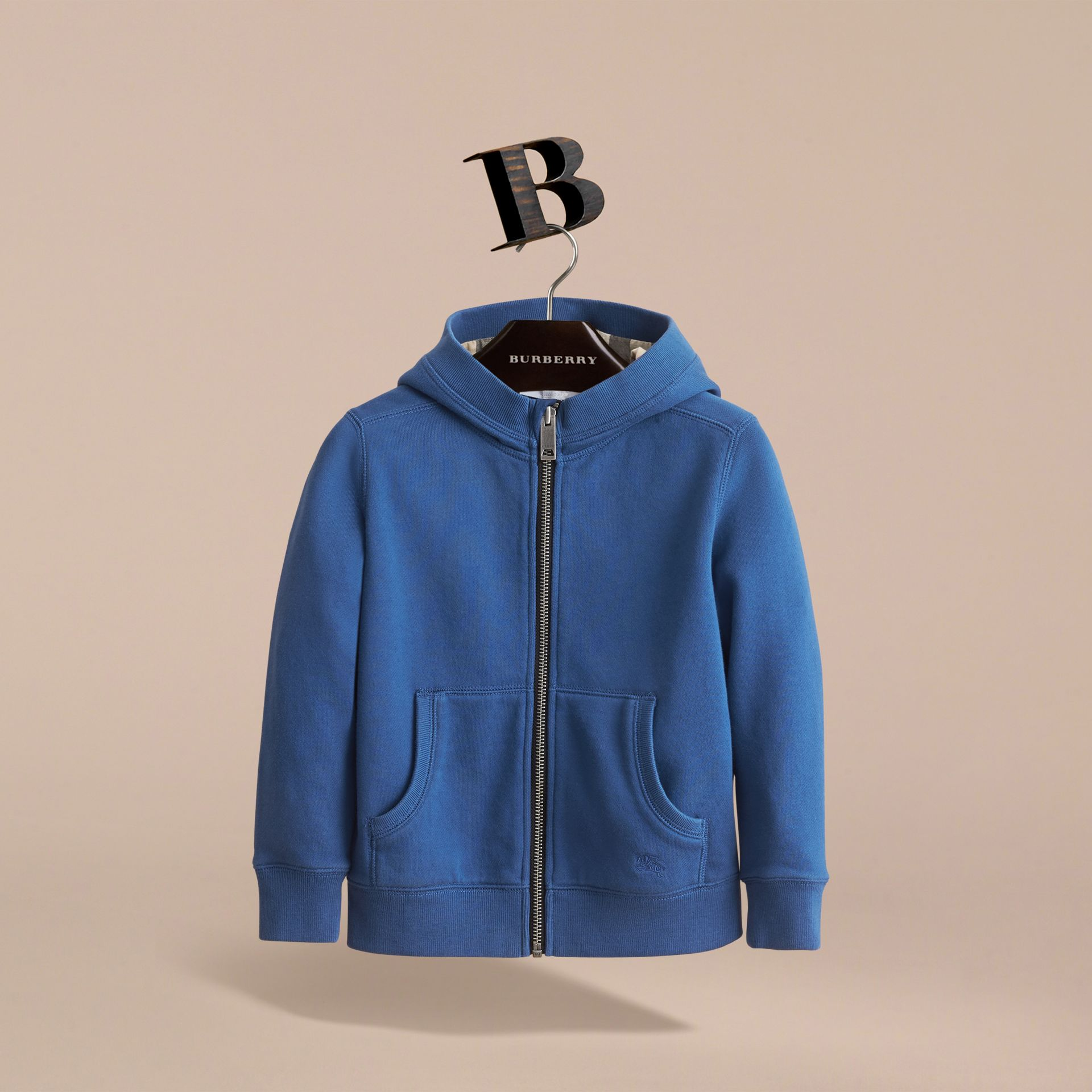 Hooded Cotton Top in Marine Blue - Boy | Burberry Singapore - gallery image 3