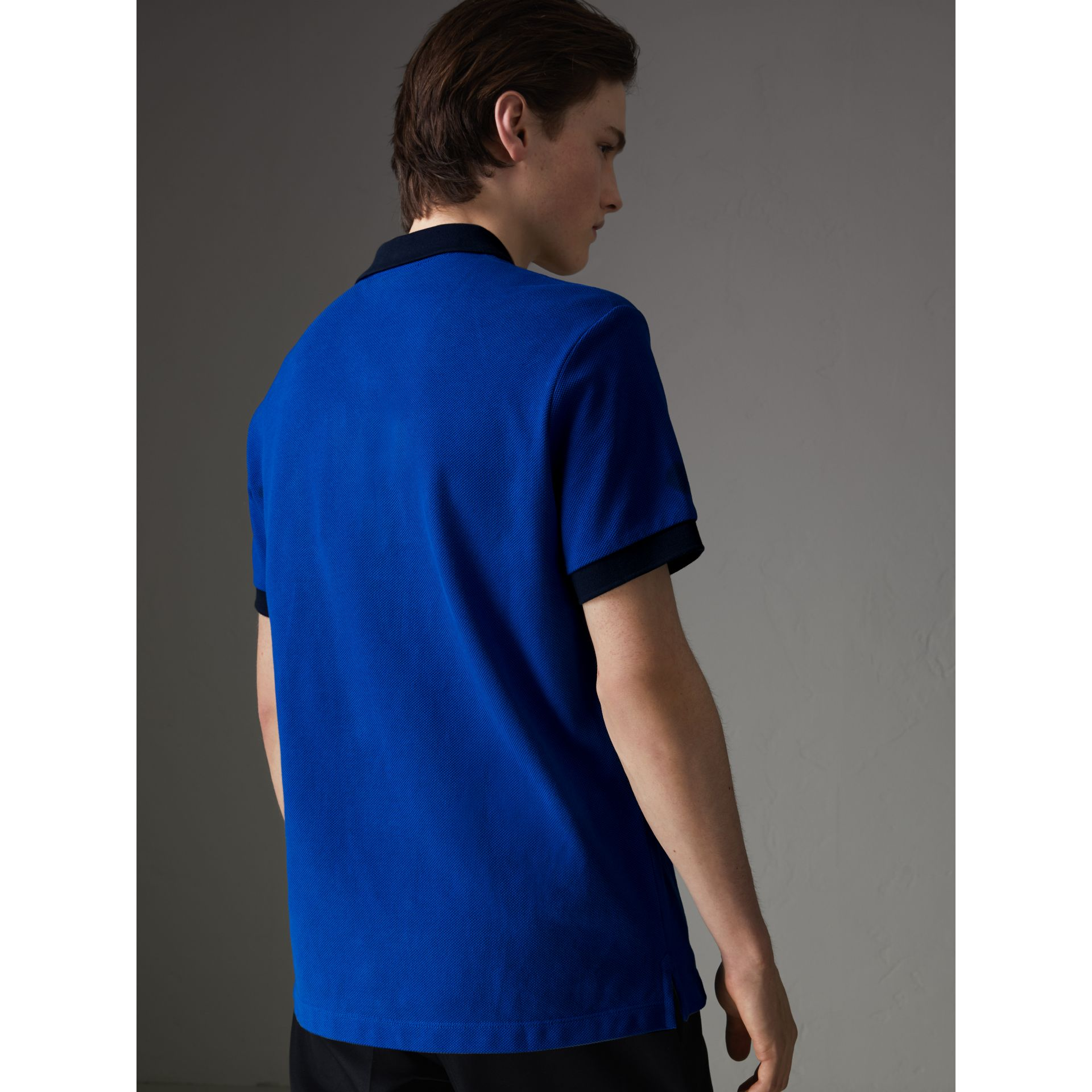 Contrast Collar Cotton Polo Shirt in Cerulean Blue - Men | Burberry United Kingdom - gallery image 2