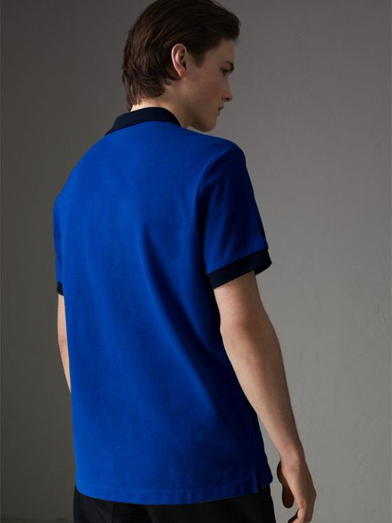 Contrast Collar Cotton Polo Shirt in Cerulean Blue - Men | Burberry United States - cell image 2